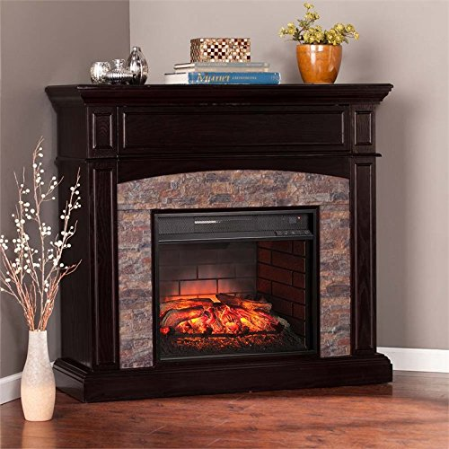 Southern Enterprises Grantham Corner Electric Fireplace TV Stand (Corner Fireplace And Tv Stand)