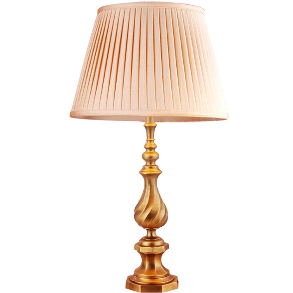 Hanlon E27-Schraubsockel, Tischlampe American Einfach Kupfer Lampe Europäischen Wohnzimmer Schlafzimmer Kupfer Lampe Nachttischlampen Kupfer Lampen