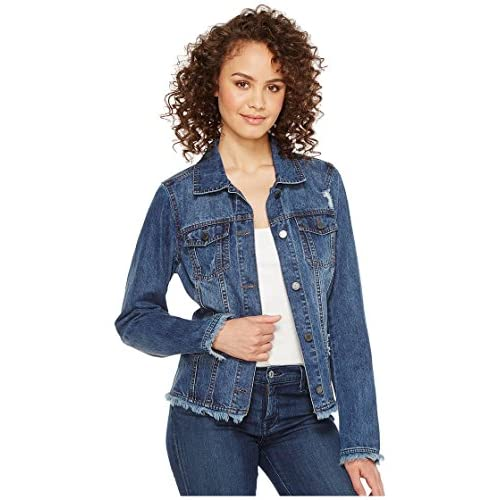 Hot FDJ French Dressing Jeans Womens Frayed Denim Jacket for cheap