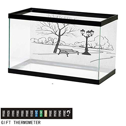 Jinguizi TreeFish Tank BackdropUrban Life Escape Zone for Peace and Serenity in Park with Trees and Bench Artprint48 L X 20