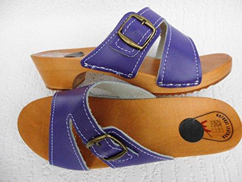 HOLZ (e) CLOGS - Pantolette Gr.38 Lila - Violett, Echt Leder (Made in Poland)