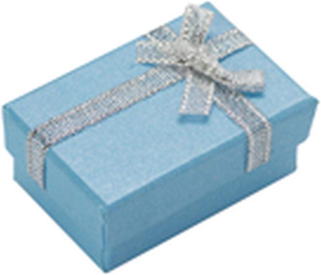 Juvenile shoulder Caja de joyería de 4x6cm Caja de Regalo de joyería de Papel Perla Pendientes de exhibición Collar Caja de Anillo Colgante Esponja Blanca-Light Blue-