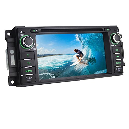 JOYING for Dodge Ram Challenger Jeep Wrangler Android 4.4.4 Quad Core 6.2 Inch 1 Din Head Unit Car Stereo autoradio Touch Screen GPS Navigation System,Support Bluetooth/WiFi/3G/4G