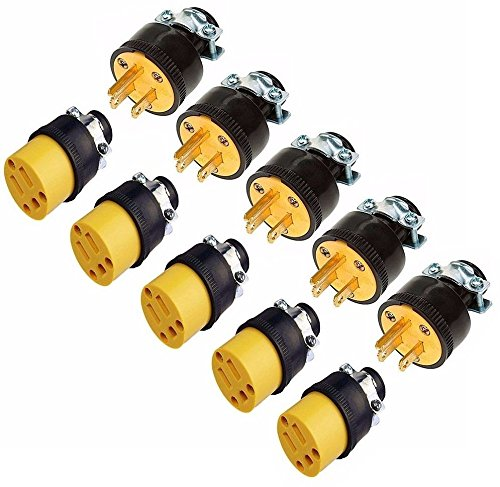 Price comparison product image (10) Extension Cord Replacement Ends (5) MALE (5) FEMALE Plug Electrical Repair
