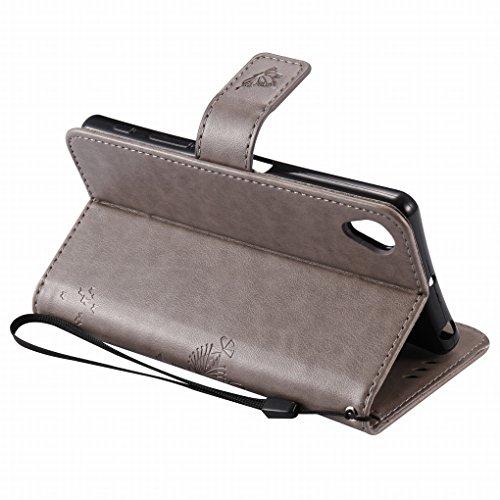 Custodia Sony Xperia X Cover Case, Ougger Alberi Gatto Printing Portafoglio PU Pelle Magnetico Stand Morbido Silicone Flip Bumper Protettivo Gomma Shell Borsa Custodie con Slot per Schede (Grigio)