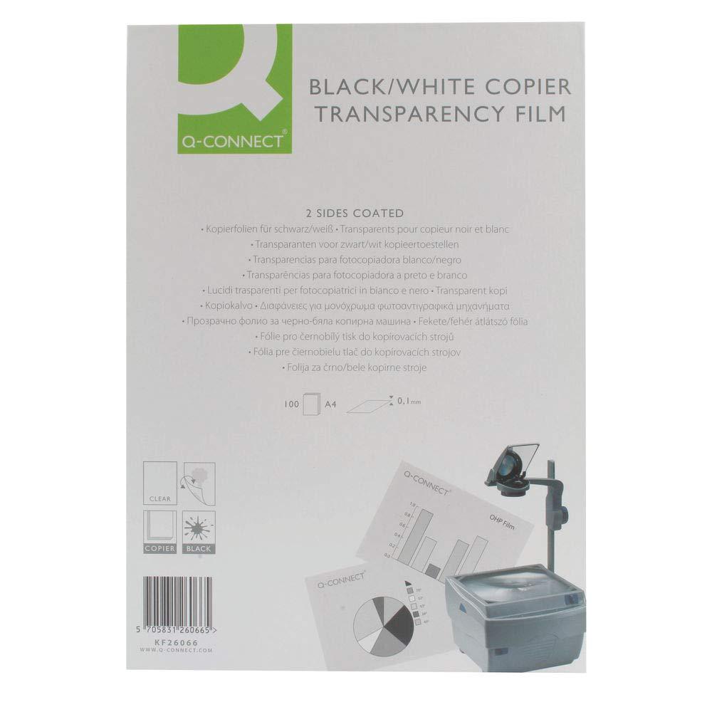 Q-Connect KF26066 - Transparencias para proyector (100 micras, 100 ...