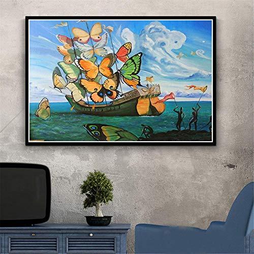 Impresion de arte en lienzo pintura psicodelica retro Salvador Dali surrealismo pinturas de arte de pared decoracion abstracta cuadros de arte 40x60cm sin marco