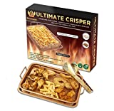 Ulitimate Copper Crisper Air Fry Chef Pan -Stainless Steel Multi-Use Ceramic Coated Tray & Non-Stick Oil Free Basket W/ Premium Tongs - For Fries, Chicken, Vegetables, Onion Rings & More