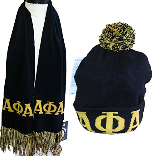 - Buffalo Dallas Alpha Phi Alpha Mens Knit Beanie Skull Cap & Scarf Set [Black]