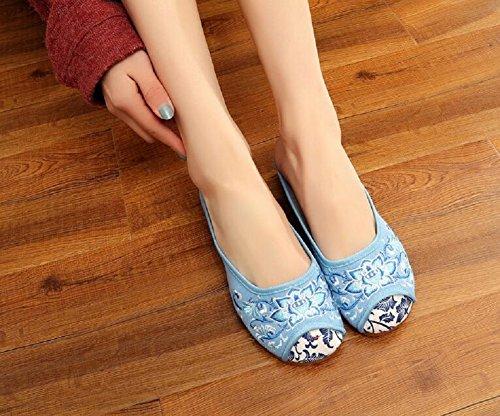 Lazutom - Zapatillas de estar por casa de Lona para mujer Azul