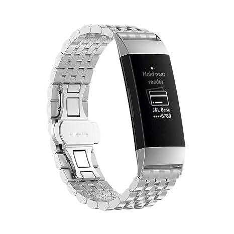 06b7c2906306 UKCOCO Correa de Acero Inoxidable para Fitbit Charge 3, Banda de ...