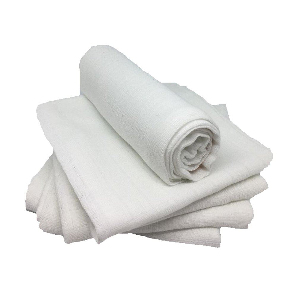 Muslin Squares - Pure White - 100% Cotton - Pack of 5 The English Baby Company