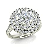 1.25 ct tw Double Halo with Solitaire look Diamond Cluster Ring 14K Gold (J,I1)