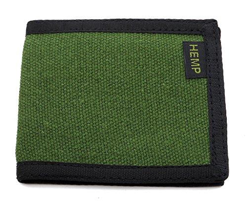 Hempmania Slim Hemp Bi-fold Wallet - Moss Green - One -