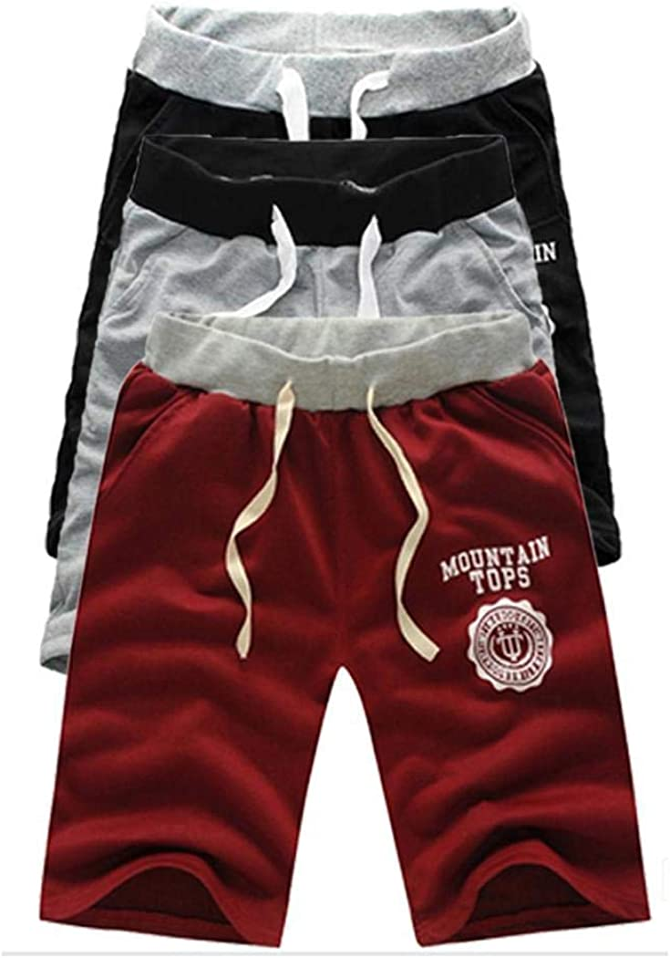 cokil Men Beach Drawstring Elastic Middle Waist Contrast Color Shorts Flat Front