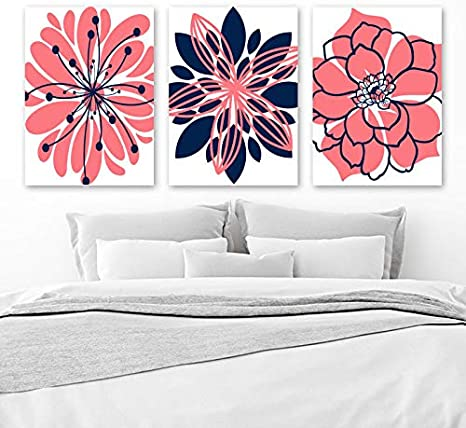 Amazon Com Coral Navy Wall Art Canvas Or Print Girl Nursery Decor Navy Coral Bedroom Wall Decor Floral Bathroom Decor Set Of 3 Flower Artwork 8x10 Inch Posters Prints