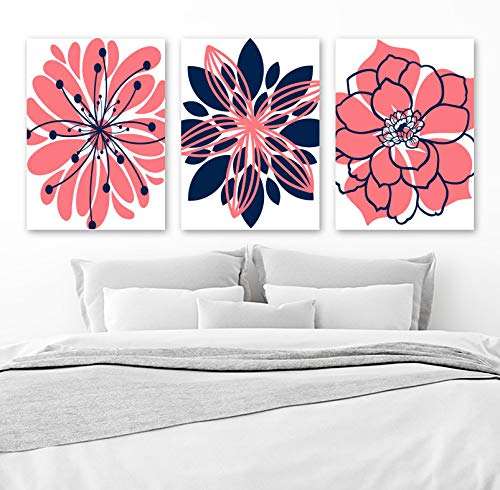 Coral Navy Wall Art Canvas or Print Girl Nursery Decor Navy Coral Bedroom Wall Decor Floral Bathroom Decor Set of 3 Flower Artwork 8x10 inch