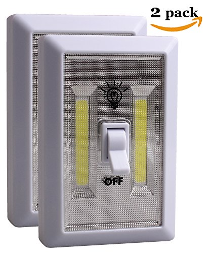 JOLLYTOOL Cob Led Night Light Switch by, Wireless Emergency Led Light Switches, Battery Operated, Magnetic, Portable, Cordless, For Garages, Attic, Home, Kitchen, Camping, Closet, Cabinet (2 Pack)