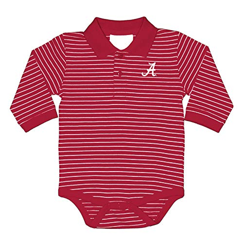 Embroidered Creeper - Two Feet Ahead NCAA Alabama Tide Boys Infant Boys Long sleeve Stripe Golf Creeperinfant Boys Long sleeve Stripe Polo Creeper, Crimson, New Born
