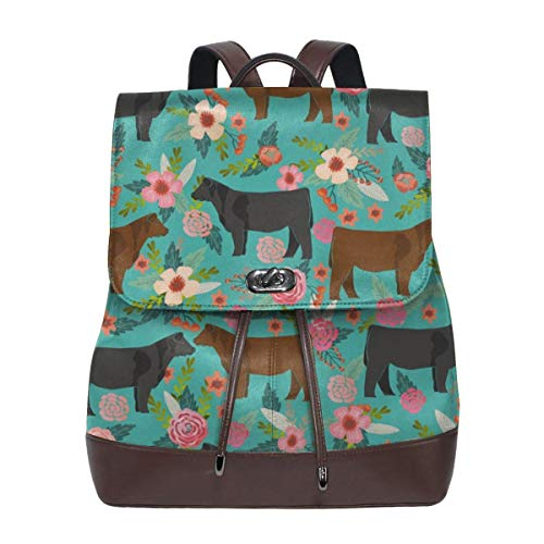 Fashion Leather Backpack Angus Cattle Floral Cattle Cow Farm Floral Purse Waterproof Anti Rucksack PU Leather Bags