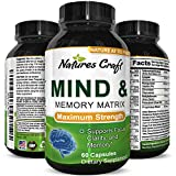 Natural Mind and Memory Supplement for Increased Mental Performance and Clarity Supports Brain Function Made with Pure Green Tea Extract DMAE Bitartrate and Vitamins 60 Capsules by Natures Craft