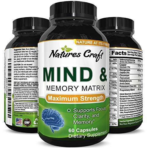 Enhance Brain Memory + Boost Focus + Improve Clarity Mind Booster Supplement For Men And Women – Contains Vitamins + Pure Herbal Ingredients – Natural Cognitive Brain Nutrition