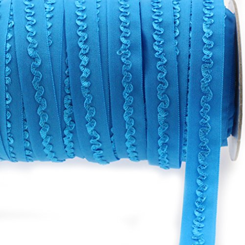 """Midi Ribbon Stretch Woven Scalloped Middle Ruffle Elastic Band 5/8"""" X 10 Yards/Pack-Can be fold Over-Color Vivid Blue-Handmade Waistbands, Sleeves, Legbands, Scrunching, Underwear Bra Sewing Supplies"""