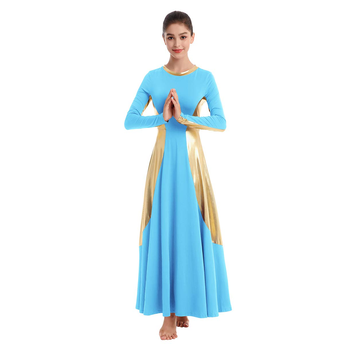 Womens Praise Robe Dance Cross Dress Long Bell Sleeve Liturgical Loose Fit Full Length Swing Worship Gown Skirt Costume Blue-Gold M by IBAKOM