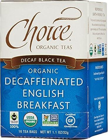 Choice Organic Teas Decaf English Breakfast Tea, 16-Count Tea Bags (Pack of 6)