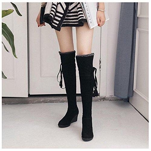 Taoffen Cuissardes Boots Black Femmes Bottes Compensées Hiver gwng6Z7xSq
