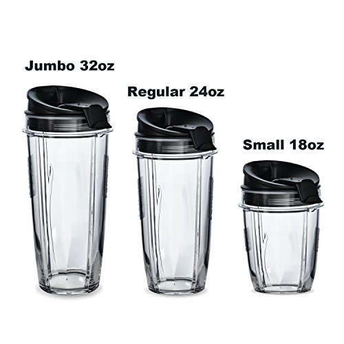 ELEFOCUS 2 Pack 32oz Cups for Nutri Ninja 32oz cup with 2 Sip Seal Lids Fits BL480, BL490, BL640, & BL680 Auto IQ Series Blenders