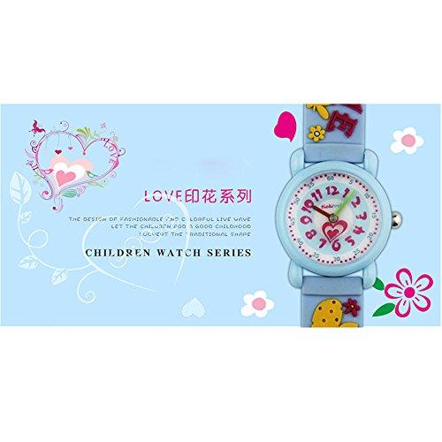 Xmas Gift for Children,Jian Ya Na Lovely Cartoon Children Watch,Silicone Strap Digital Round Quartz Wristwatches for Girls Boys Kids (Blue(3D Love )) by Jian Ya Na (Image #2)