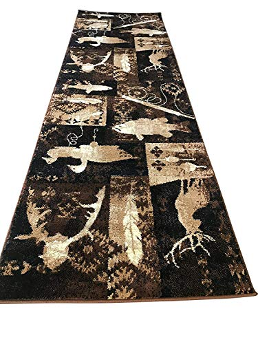 Carpet King Cabin Style Area Runner Rug Fish Duck & Deer Wildlife Country Lodge Design 383 (2 Feet 2 Inch X 7 Feet 2 Inch) ()