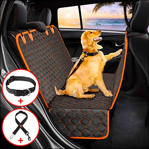 Manificent Dog Car Seat Covers, Nonslip Pet Seat Cover, Hammock 600D Heavy Duty Waterproof Scratch-Proof Thicken Dog Back Seat Covers Fits Most Cars, Trucks, SUVs (Seat Belt& Dog Collar Included) (Heavy Truck Seats)