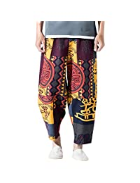 58f589ca657 Naladoo Men s Vintage Baggy Printed Cotton Linen Harem Pants Jogging  Sweatpants