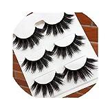 Imported Silk False Eyelashes Thick Exaggerated Black Messy 3D Eye Lashes Art Performance Makeup Fake Eyelashes,1 box 3 pairs
