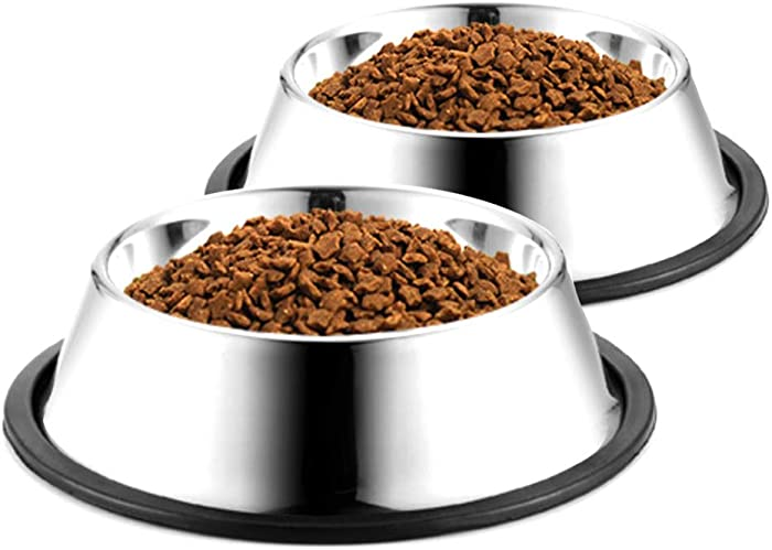 WEDAWN Stainless Steel Dog Bowls,Cat Bowl Water and Food with Rubber Base,Puppy Dishes 8oz 16oz 26oz 30oz for Small/ Medium/ Large Dogs, Cats, Rabbit and Kitten (Set of 2)