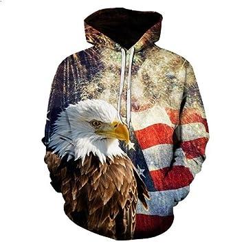 JOSENCL Impresión GEagle BIANYILON3D Sudaderas Hombres Sudadera con Capucha Bandera Americana de Moda Sudores Tops Hip Hop Unisex Pullover Sudadera Hombre ...