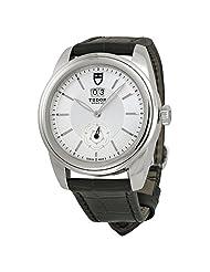 Tudor Glamour Mechanical Silver Dial Black Leather Watch 57000-SVBKL