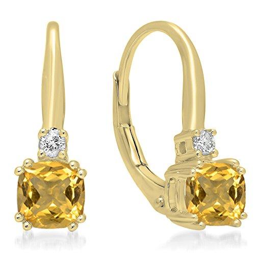 Dazzlingrock Collection 14K Cushion Cut Citrine & Round Cut White Diamond Ladies Dangling Drop Earrings, Yellow Gold