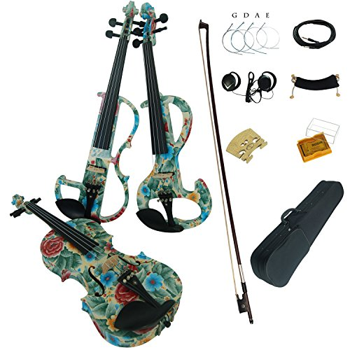 Aliyes Wood Electric Violin Full Size 4/4 Advanced Intermediate Electric Silent Green leaves&flowers Violin Kit With Case,Bow,Rosin,headphones,Shoulder Rest,Strings(ALDSG-1102) by Aliyes