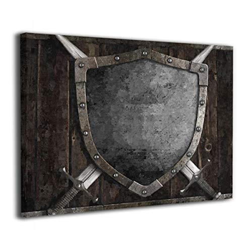 - Zhangyi Medieval Shield and Crossed Swords On Wood Gate Photo Modern PaintingsCanvas Wall Art Prints Wood Frame Gallery Home Decoration Giclee Artwork Stretched