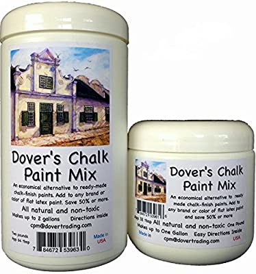 CHALK PAINT MIX by DOVER'S Transforms Any Brand or Color of Flat Latex or Acrylic Paint. Save Up To 75% Over Ready Made. Quick, Easy and All Natural. 2 Sizes