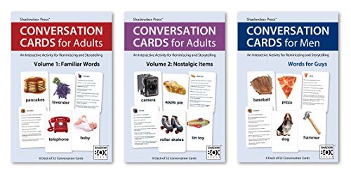 Sensory Stimulation Activities (Conversation Cards – Three-Deck Set – Reminiscence Activity for Alzheimer's / Dementia / Memory Loss Patients and Caregivers)