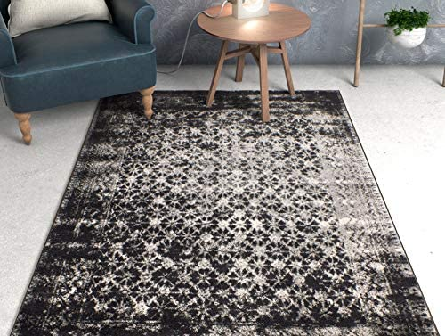 """Well Woven Cheshire Grey Moroccan Lattice Vintage Modern Casual Traditional Trellis 5x7 5'3"""" x 7'3"""" Area Rug Thick Soft Plush Shed Free"""