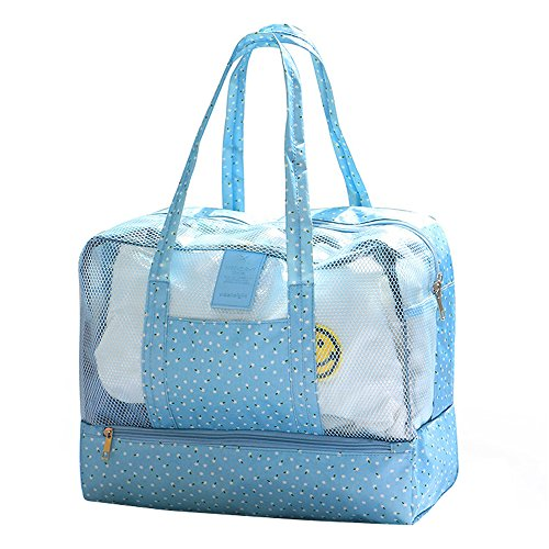 Dry Wet Depart Womens Beach Bag Waterproof Swimming Bags Pool Beach Pouch Collection Bag Workout Gym Bag for Travelling-Blue