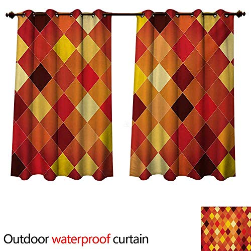 (WilliamsDecor Geometric Outdoor Balcony Privacy Curtain Argyle Pattern with Colorful Rhombuses Classic Lozenge Geometric Arrangement W120 x L72(305cm x 183cm))