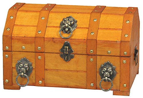 Vintiquewise TM Pirate Treasure Chest/Box with Lion Rings by Vintiquewise
