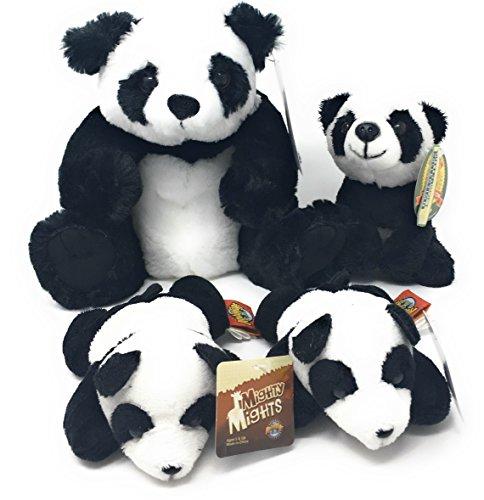 Tiny Panda - Plush Panda Cuddly Family Bundle - Medium Panda, Small Panda and Two Tiny Pandas (Four Plush Toys)