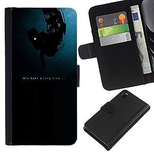 LECELL--Cuero de la tarjeta la carpeta del tirón Smartphone Slots Protección Holder For Sony Xperia Z3 D6603 -- Ha sido un tiempo largo - Apertura --